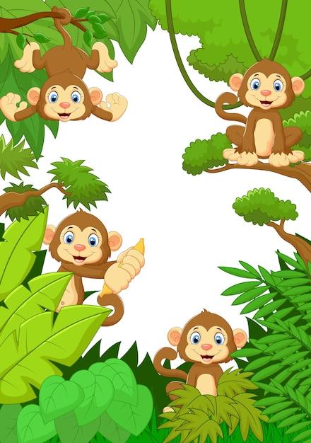 森の幸せな猿の漫画 Premiumベクター