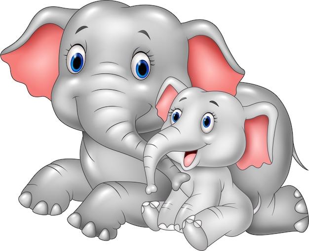 Cartoon happy mother and baby elephant Premium Vector
