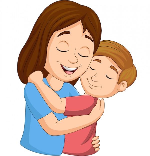 Cartoon Happy Mother Hugging Her Son Vector  Premium Download-1713