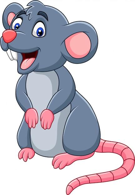 Cartoon happy mouse Premium Vector