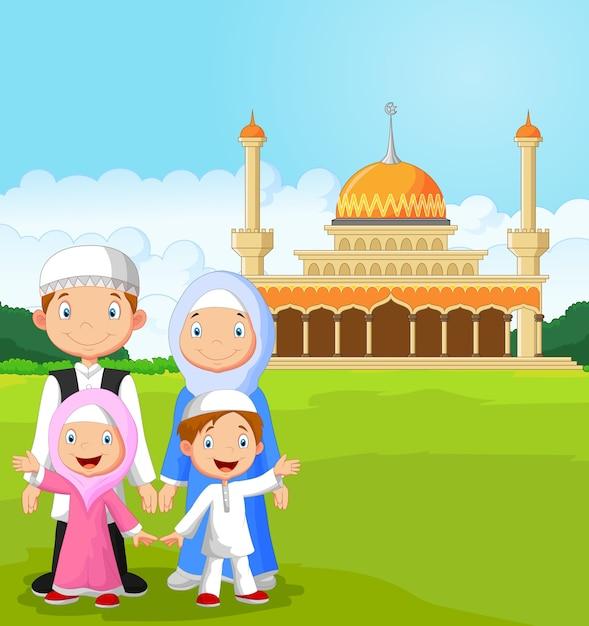 Мультяшная счастливая мусульманская семья Premium векторы