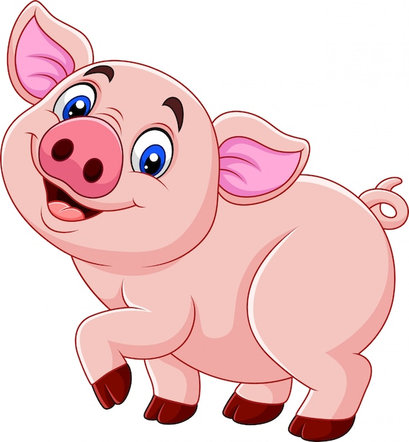 Cartoon happy pig isolated on white background Premium Vector