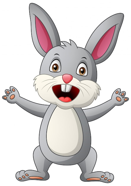 Cartoon happy rabbit. illustration Premium Vector