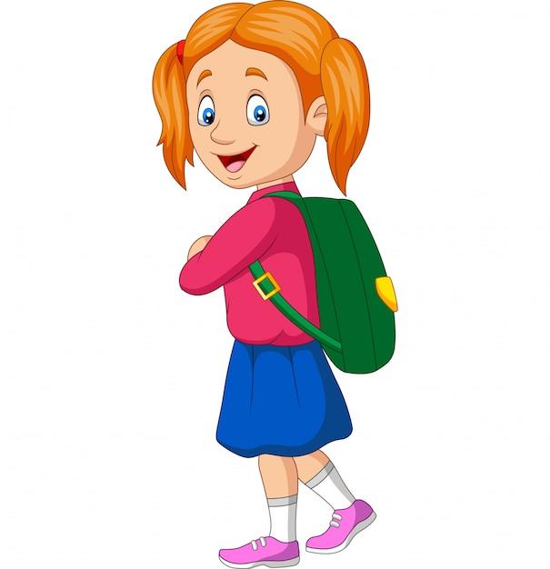 Cartoon happy school girl carrying backpack Premium Vector