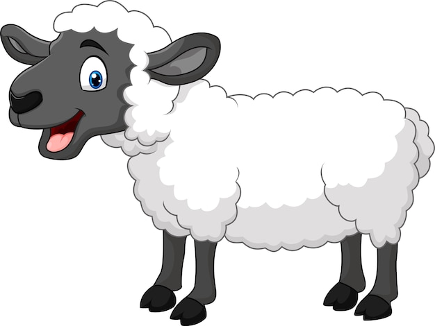 Cartoon happy sheep posing isolated on white background Premium Vector