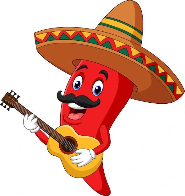 Cartoon happy sombrero chili pepper playing a guitar Premium Vector