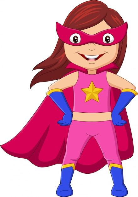 Premium Vector Cartoon Happy Superhero Girl Posing