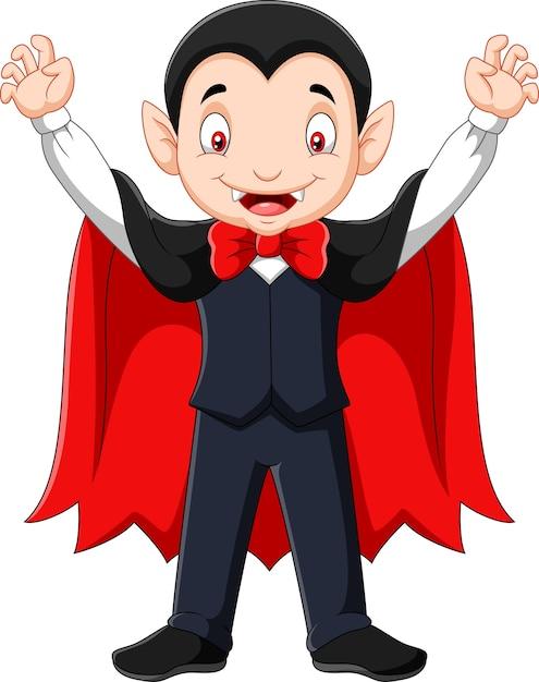 Cartoon happy vampire mascot Premium Vector