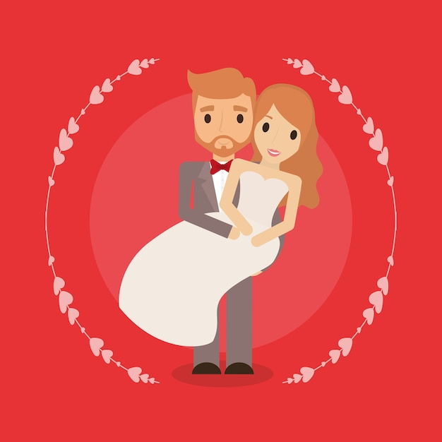 Cartoon Happy Wedding Couple Premium Vector