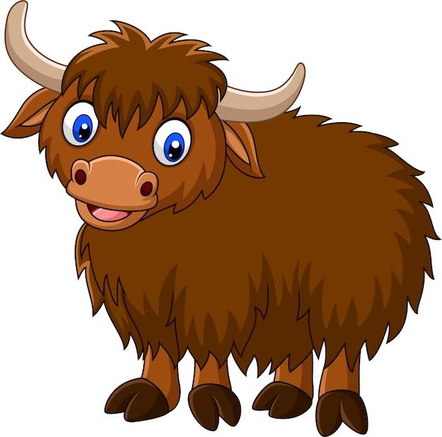 Cartoon happy yak Premium Vector