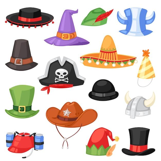 Cartoon hat  comic cap for celebrating birthday party or chrisrmas with headwear or head-dress illustration set of funny headgear cowboy Premium Vector