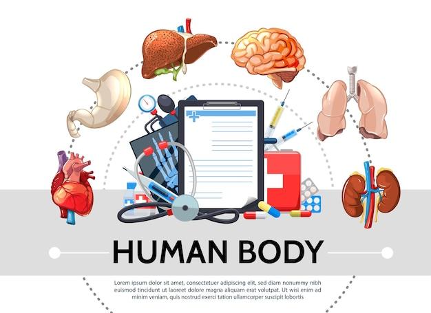 Concetto rotondo di elementi sanitari del fumetto con lo stetoscopio del tonometro del kit medico delle pillole degli organi interni umani Vettore gratuito