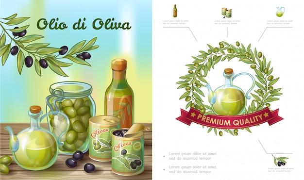 Мультяшная здоровая оливковая композиция с венком из бутылки с банкой из натурального масла, банками из зеленых и черных оливок Бесплатные векторы