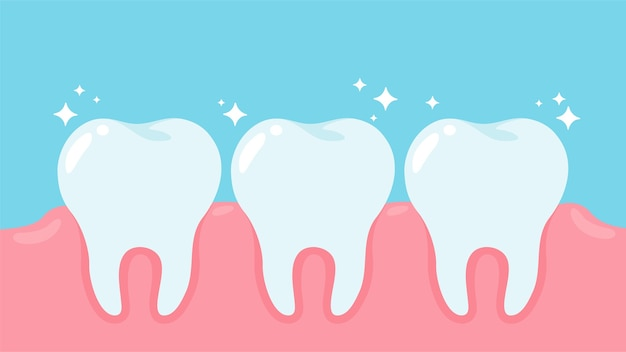 Cartoon healthy oral health and gums dental care concept. Premium Vector