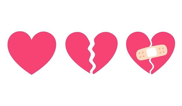 만화 심장 세트, 실연 및 붕대로 고정 균열. 이별과 비탄의 상징. 프리미엄 벡터