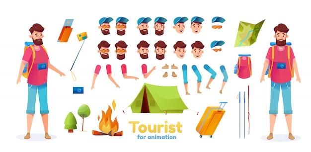 漫画ハイカーキャンプ観光アニメーションセット。バックパックハイキングを持つ若い男は、顔の感情、さまざまな位置でテントマップ作成キットをスティックします。たき火、カメラでトレッキング男コンストラクター Premiumベクター