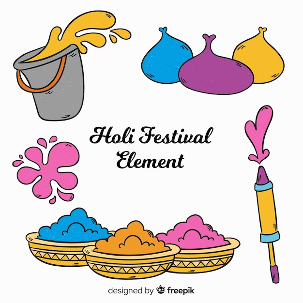 Cartoon holi festival element collection Free Vector
