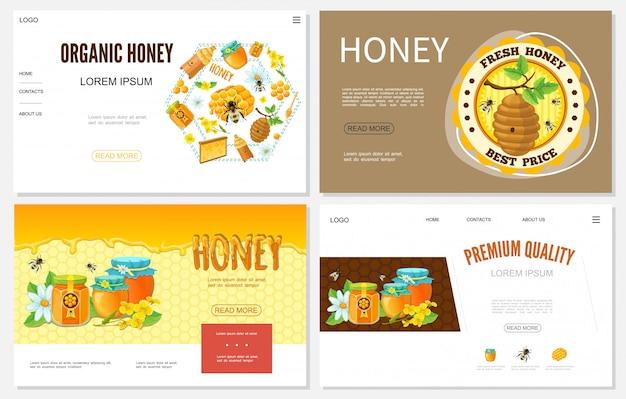 Siti web di miele del fumetto impostati con alveari api a nido d'ape vasi di fiori e vasetti di prodotto dolce biologico Vettore gratuito