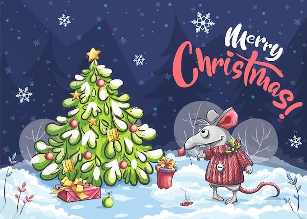 Cartoon horizontal illustration postcard merry christmas of a funny mouse Premium Vector