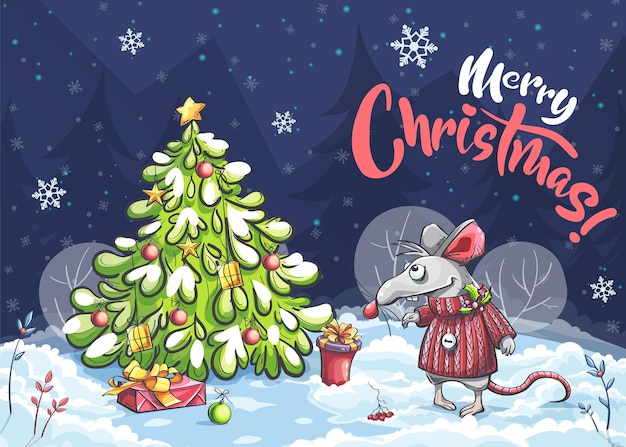 Мультяшная горизонтальная иллюстрация открытка веселая мышь с рождеством Premium векторы