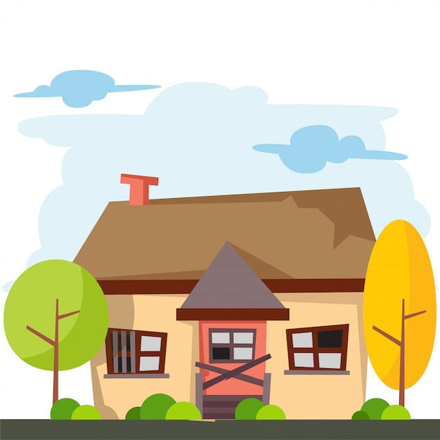 Cartoon of house with broken door and windows Premium Vector
