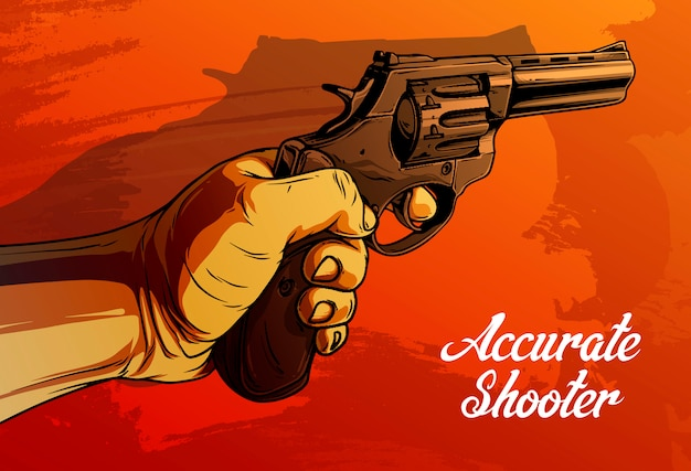 Cartoon human hand holding old revolver Premium Vector