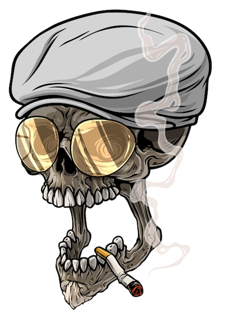 Cartoon human skull in peaked cap and eyeglasses Premium Vector