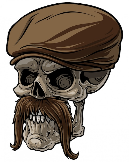 Cartoon human skull in peaked cap with mustache Premium Vector