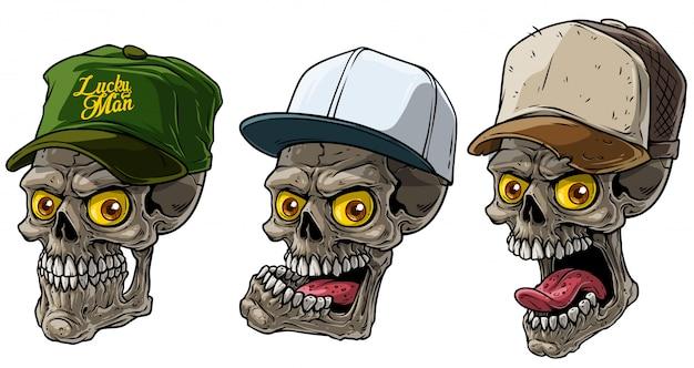 Cartoon human skull in trucker cap with yellow eye Premium Vector