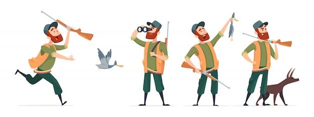 Мультяшные охотники. охотник с собакой, ружья, бинокль, утка на белом фоне Premium векторы