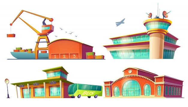 Cartoon icons of bus station, airport, sea port Free Vector