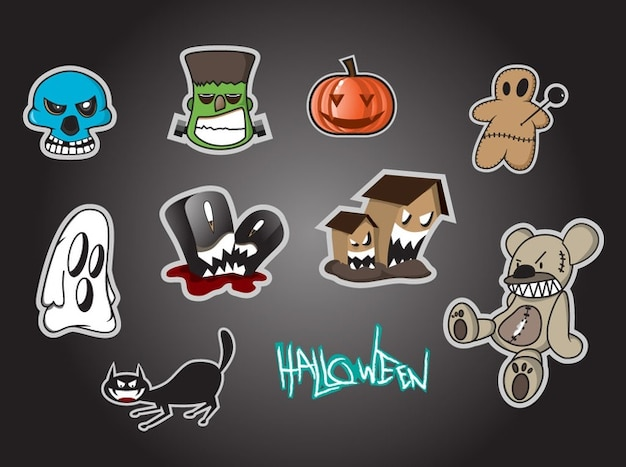 Cartoon icons for halloween