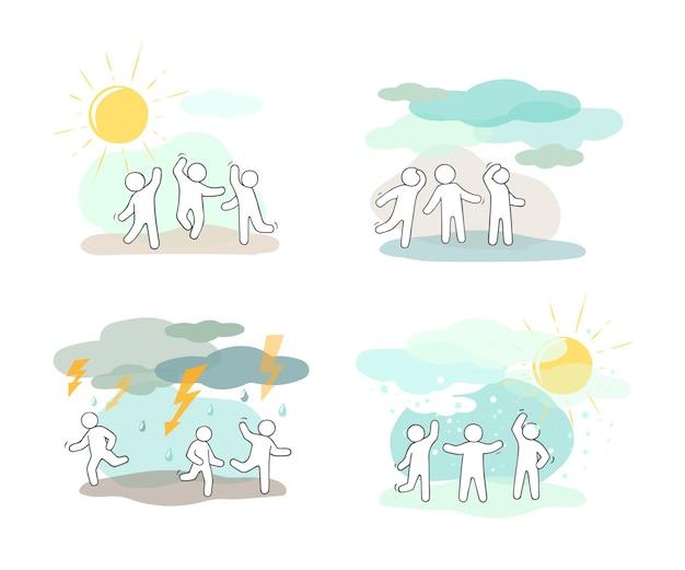 Набор иконок мультфильм эскиз маленьких людей с погодными символами. Premium векторы