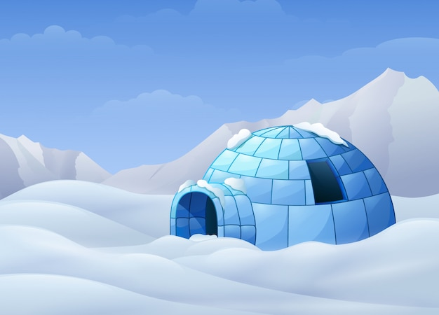 Cartoon of igloo with mountains in winter illustration Premium Vector