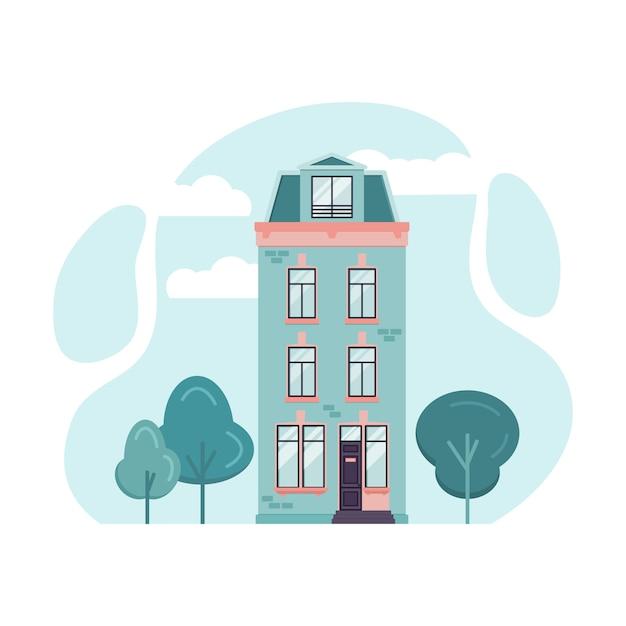 Cartoon illustration of amsterdam tall house. Premium Vector