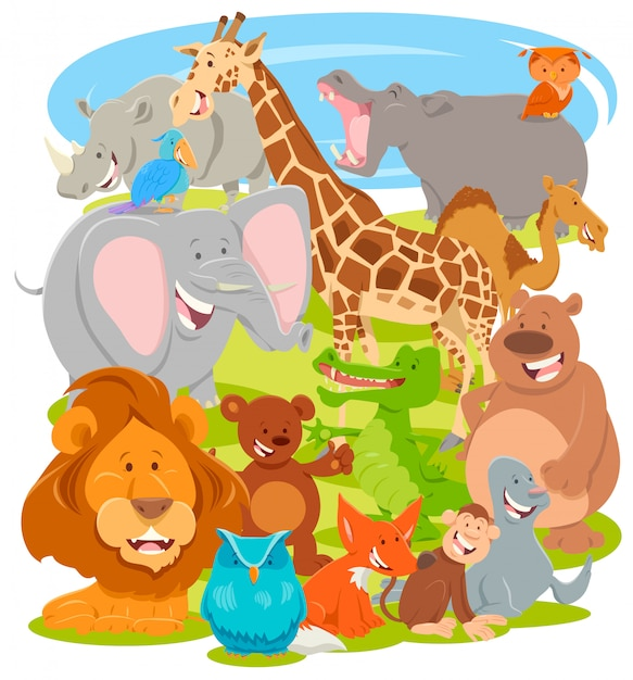 Cartoon illustration of animal characters group Premium Vector