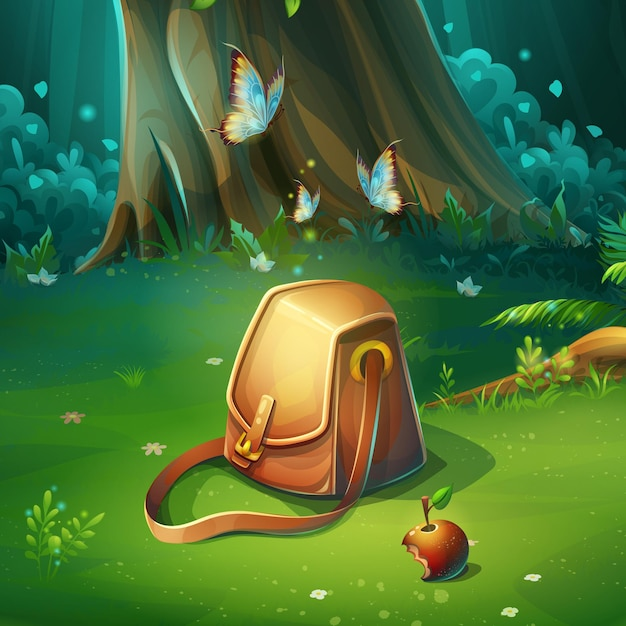 Cartoon illustration of background forest glade with bag. bright wood with hares, butterflies, apple, travel bag. for design game, websites and mobile phones, printing. Premium Vector