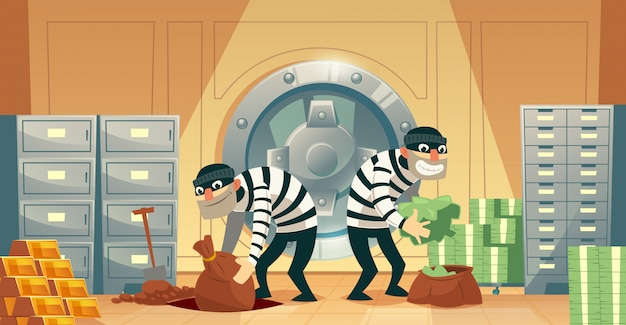 Cartoon illustration of bank robbery in safety vault. two thieves stealing gold, cash Free Vector