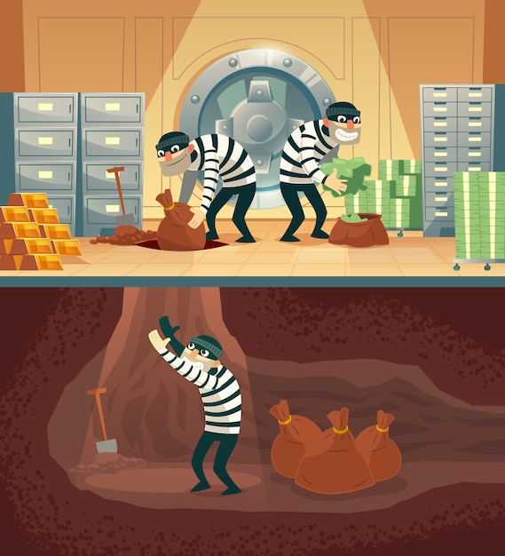 Cartoon illustration of bank robbery in safety vault. Free Vector