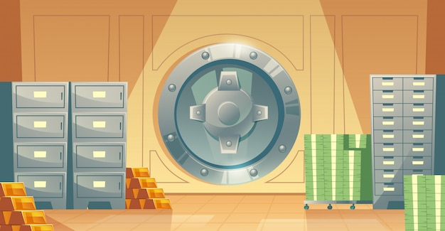 Cartoon illustration of bank vault inside, metallic iron safe door. Free Vector