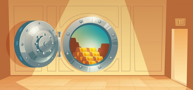 Cartoon illustration of bank vault, metallic iron safe door. Free Vector