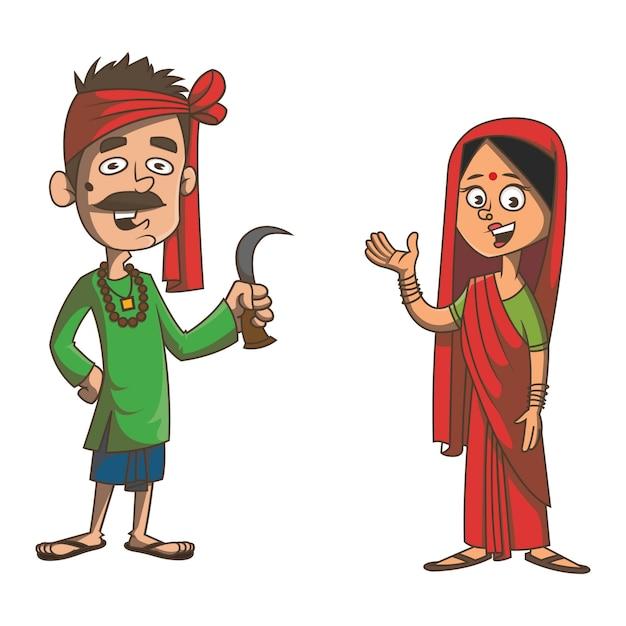 Cartoon illustration of bihar couple. Premium Vector