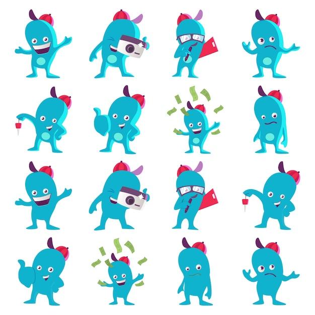 Cartoon illustration of blue monster set Premium Vector