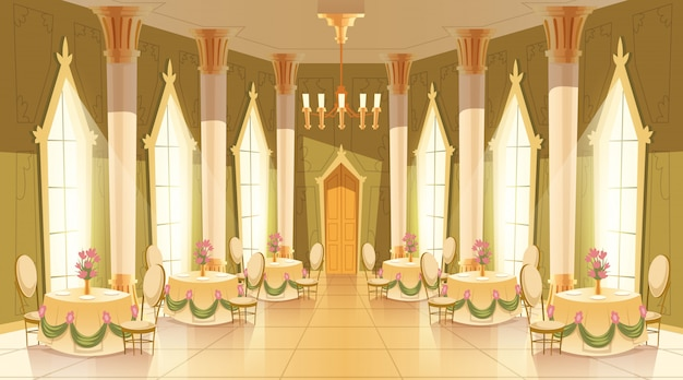 Cartoon illustration of castle hall, ballroom for dancing, royal receptions Free Vector