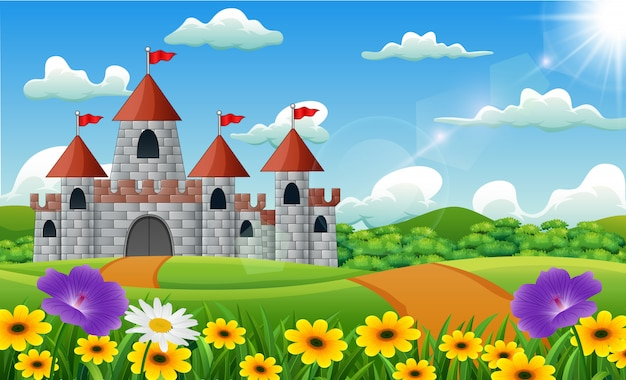 Cartoon illustration of castle on hill landscape Premium Vector