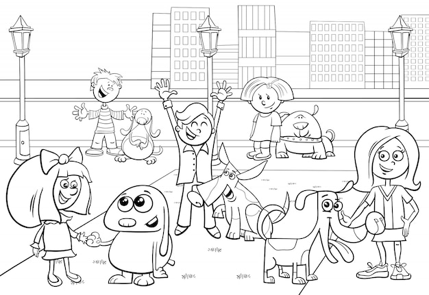 Cartoon illustration of children with dogs group Premium Vector