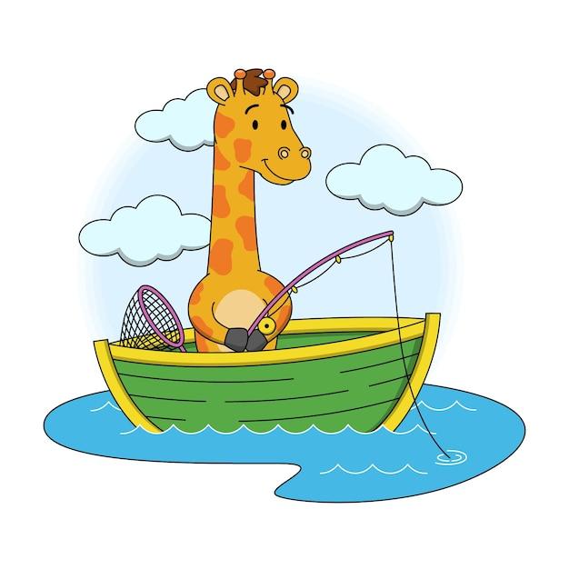 Cartoon illustration of cute giraffe fishing Premium Vector