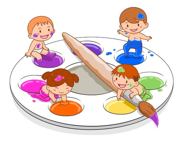 Cartoon illustration of cute kids playing in colour mixing palette. Premium Vector