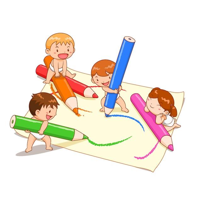 Premium Vector Cartoon Illustration Of Cute Kids Playing Colour Pencils  On Paper.