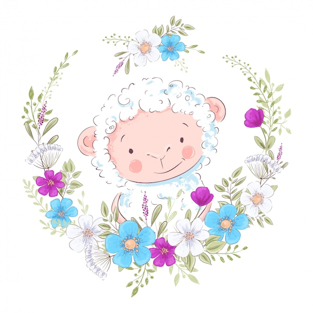 Cartoon illustration of a cute sheep in a wreath of blue and purple flowers Premium Vector